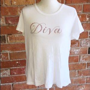 "Cute Cotton ""DIVA"" Tee XL EUC"
